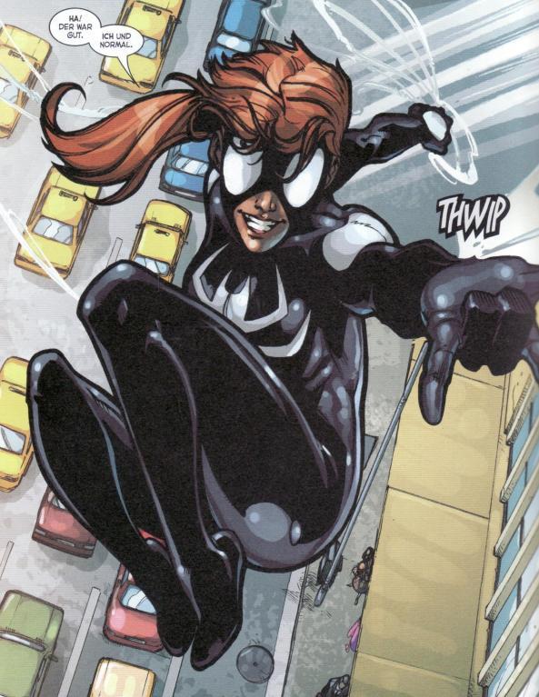 Spider-Girl schwingt davon.
