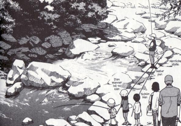 Yotsuba mit Freunden beim Angeln.