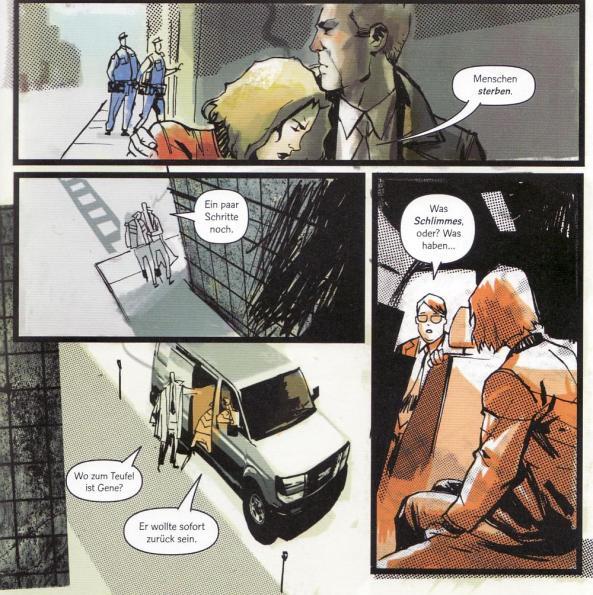 Dr. Laura Regan auf der Flucht vor der Regierung, mit Agenten der Regierung.