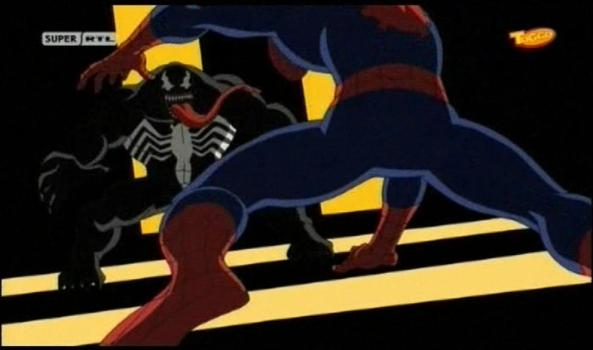 Spidey und Venom im dramatischen Kampf.