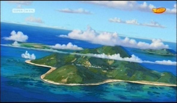 Eine einsame tropische Insel.