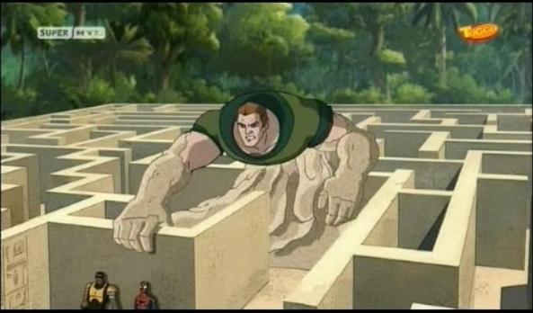 Sandman spielt mit den jungen Helden.