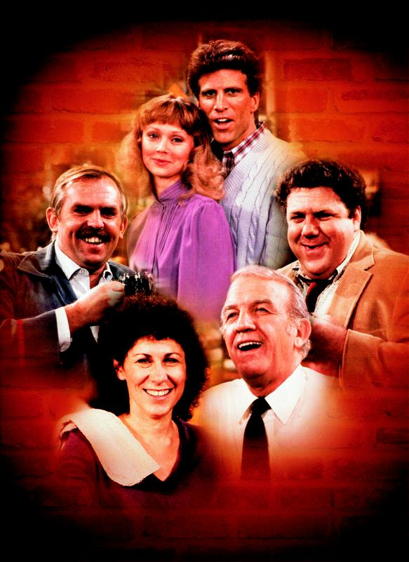 Das ursprüngliche Team von Cheers Sam (oben) Diane (oben links), Cliff (links) Norm (rechts), Coach (unten rechts) Carla (unten links).