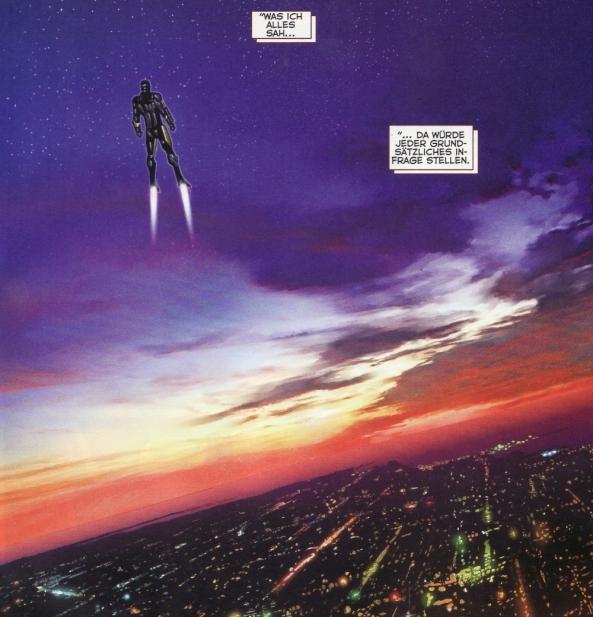 Iron Man über der Stadt. Richtig malerisch. Dank Photoshop ist alles möglich.