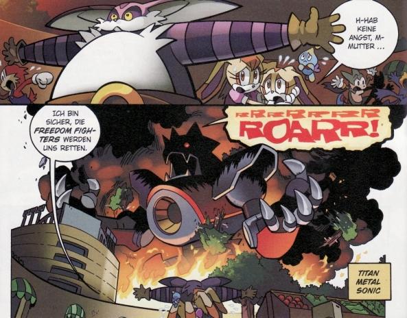 Mobius wird von einem Riesen-Sonic-Titan angegriffen.
