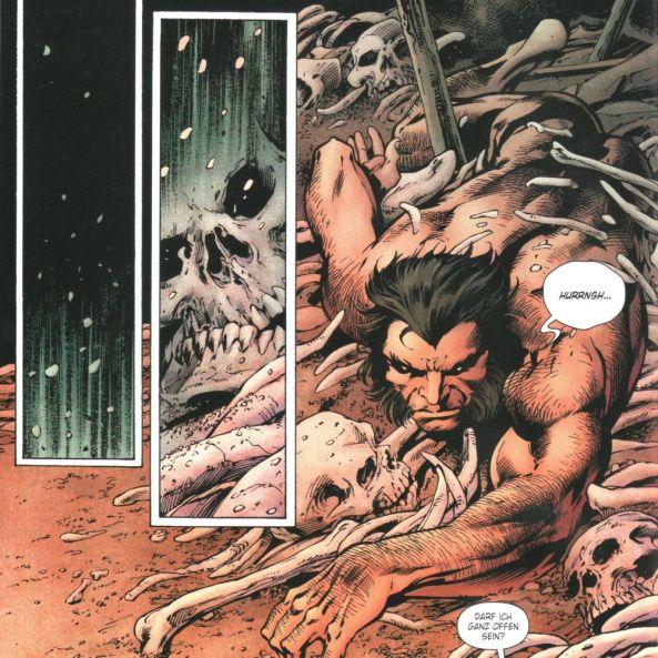 Fast schon klassisch, wie Wolverine aus einem Haufen Knochen herauskommt.