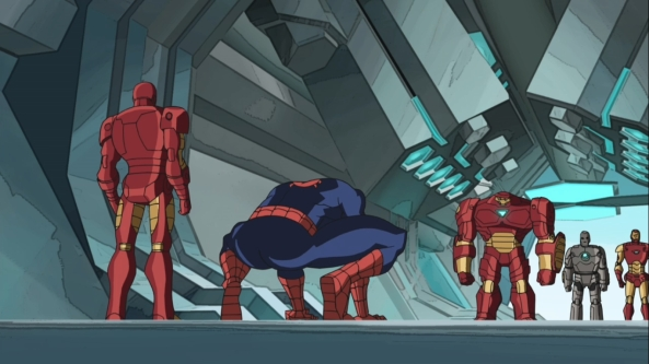Einige Iron Man Rüstungen. Ultimate Iron Man, die Original-Rüstung und die Nasenrüstung (von rechts nach links)