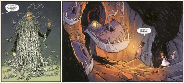 Zwei der merkwürdigen Wesen in diesem Band. Ein Erfinder aus der Oberwelt und Drachenbabys.