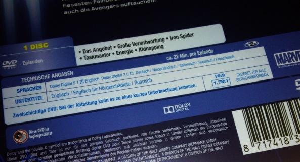Hier die Rückseite mit den technischen Daten der DVD Volume 1. Nicht gerade berauschend.