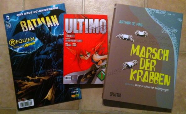 Links: Batman #20 von Snyder, Kubert, Layman und Fabok Mitte: Ultimo #1 von Stan Lee und Hiroyuki Takei Rechts: Marsch der Krabben #1 von Arthur De Pins