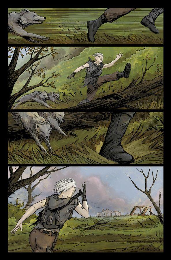 Auf der Flucht vor angreifenden Wölfen