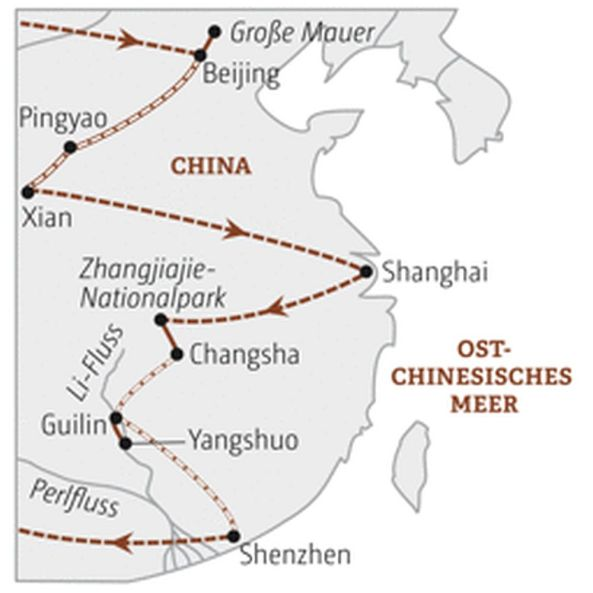 China Reiseroute