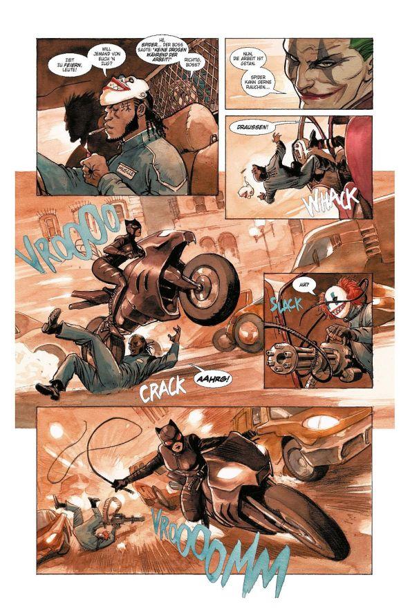 Catwoman und Batman jagen den Joker.