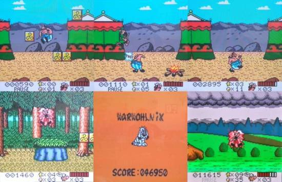 Obelix im Einsatz und Asterix bei der Einnahme des Zaubertrank. Idefix muss als Trostpflaster herhalten, wenn man alle Leben verbraucht hat.