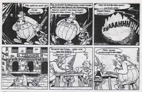 Ein Verdauuungsschnaps für Obelix nach dem Besuch bei der Bestie. War da nicht was?
