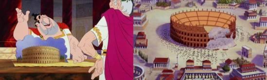 Das Colosseum vor seiner Fertigstellung und nach seiner Einweihung (durch Obelix).