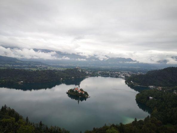 Eine schöne Aussicht auf den Bleder See